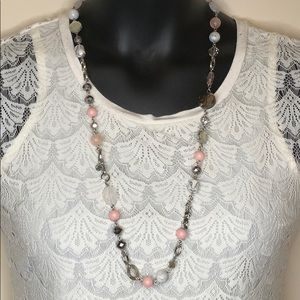 Loft pink and marble long chain necklace formal